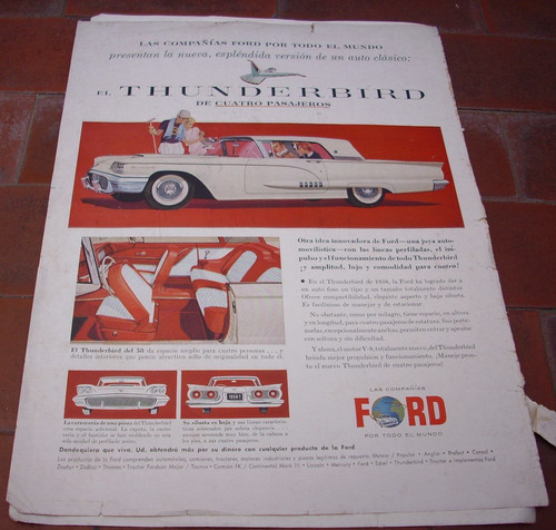antigua publicidad  auto thunderbird ford