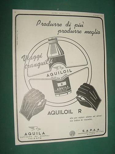 antigua publicidad clipping italia lubricantes aquiloil