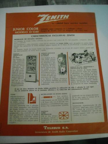 antigua publicidad folleto original televisor  zenith