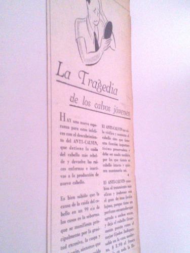 antigua publicidad locion anti-calvin calvicie cabello 1930s