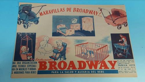 antigua publicidad original bebes broadway año 1940