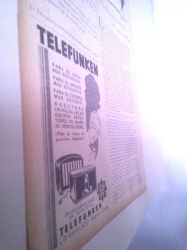 antigua publicidad telefunken - radio receptor super 1930s