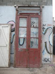 Antigua Puerta Patio Vidrio Repartido 2 Hojas Madera 5454