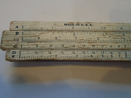antigua regla de calculos made in usa