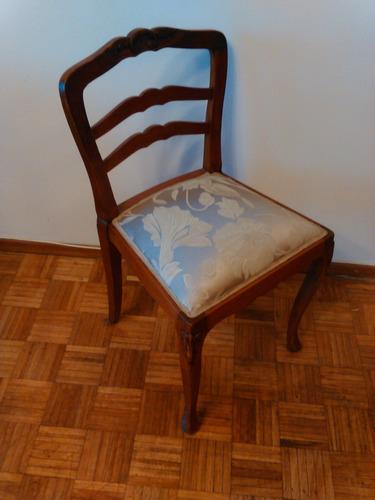 antigua silla estilo frances en madera, tallada, retapizada