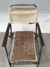 Metálica Silla Antigua Plegable Cuerodetalles Lona EDHI29