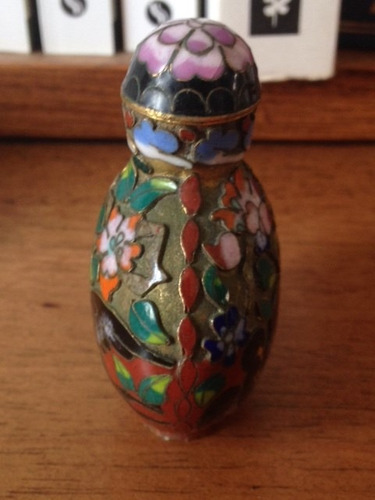 antigua snuff bottle realizada esmalte cloisonne china aves