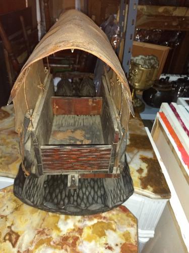 antigua talla de madera carruaje con bueyes