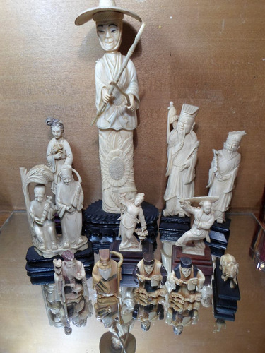 antigua talla figura oriental ox bone material noble ivory