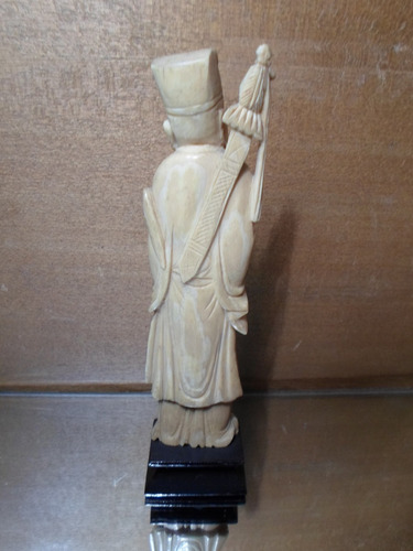 antigua talla material noble figura oriental ox bone ivory