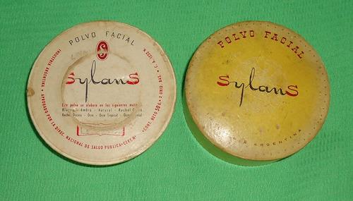 antigua talquera polvera polvo facial sylans (c8)
