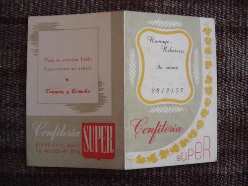antigua tarjeta confiteria super menú 10x13 (c.1)