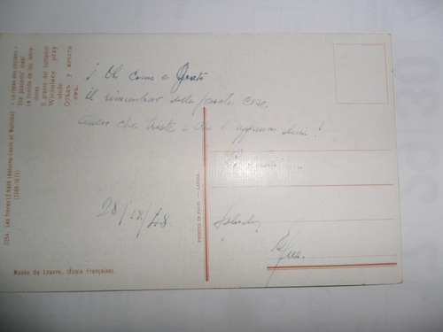 antigua tarjeta postal 1948 louvre lapina paris le main