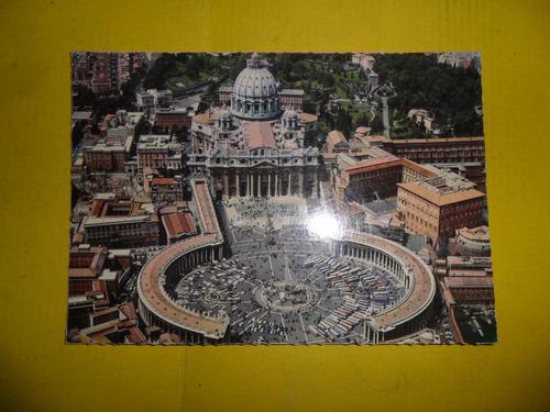 antigua tarjeta postal basilica de san pedro roma