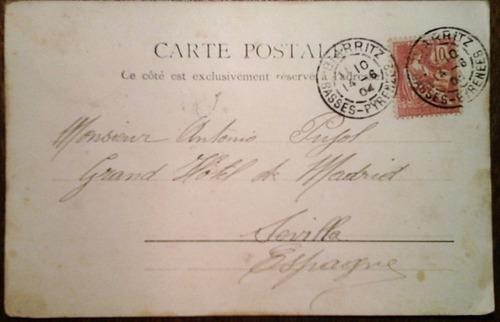 antigua tarjeta postal de biarritz 1904