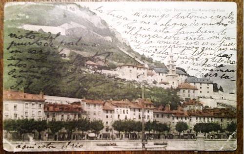 antigua tarjeta postal de grenoble c. 1907