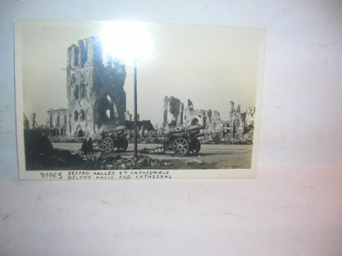 antigua tarjeta postal foto ypres belfry halls  cathedral