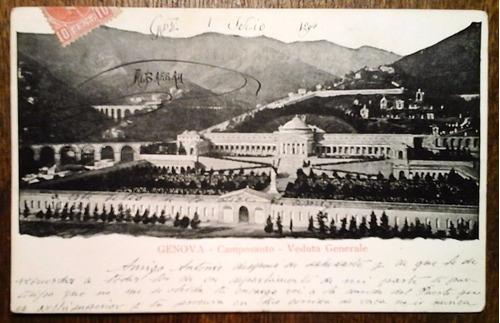 antigua tarjeta postal génova, italia 1904 cementerio