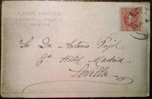 antigua tarjeta postal génova italia circa 1904
