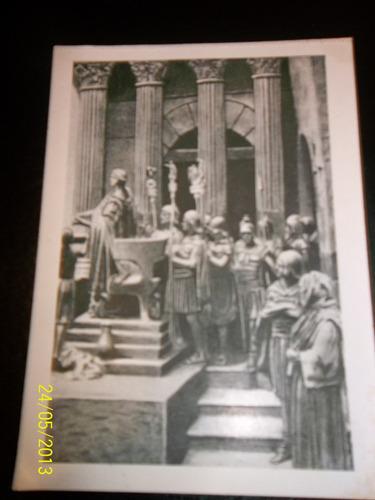 antigua tarjeta postal invitación golgota prof. vajda