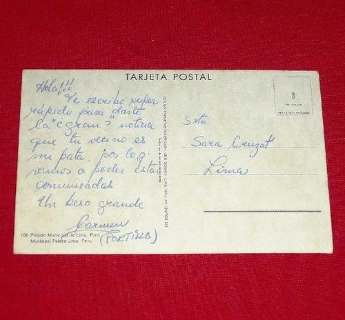 antigua tarjeta postal palacio municipal de lima plaza armas
