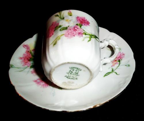 antigua taza colección porcelana w.guerin limoges france