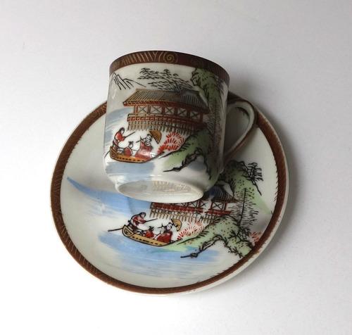 antigua taza de café con plato porcelana japonesa sello rojo