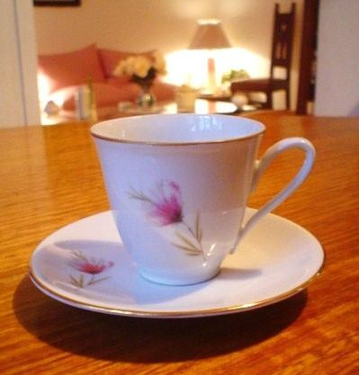 antigua taza de café de porcelana alemana