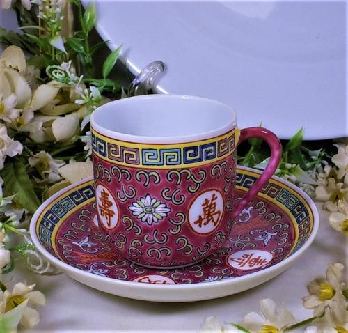antigua taza de café porcelana mun show jingdezhen china