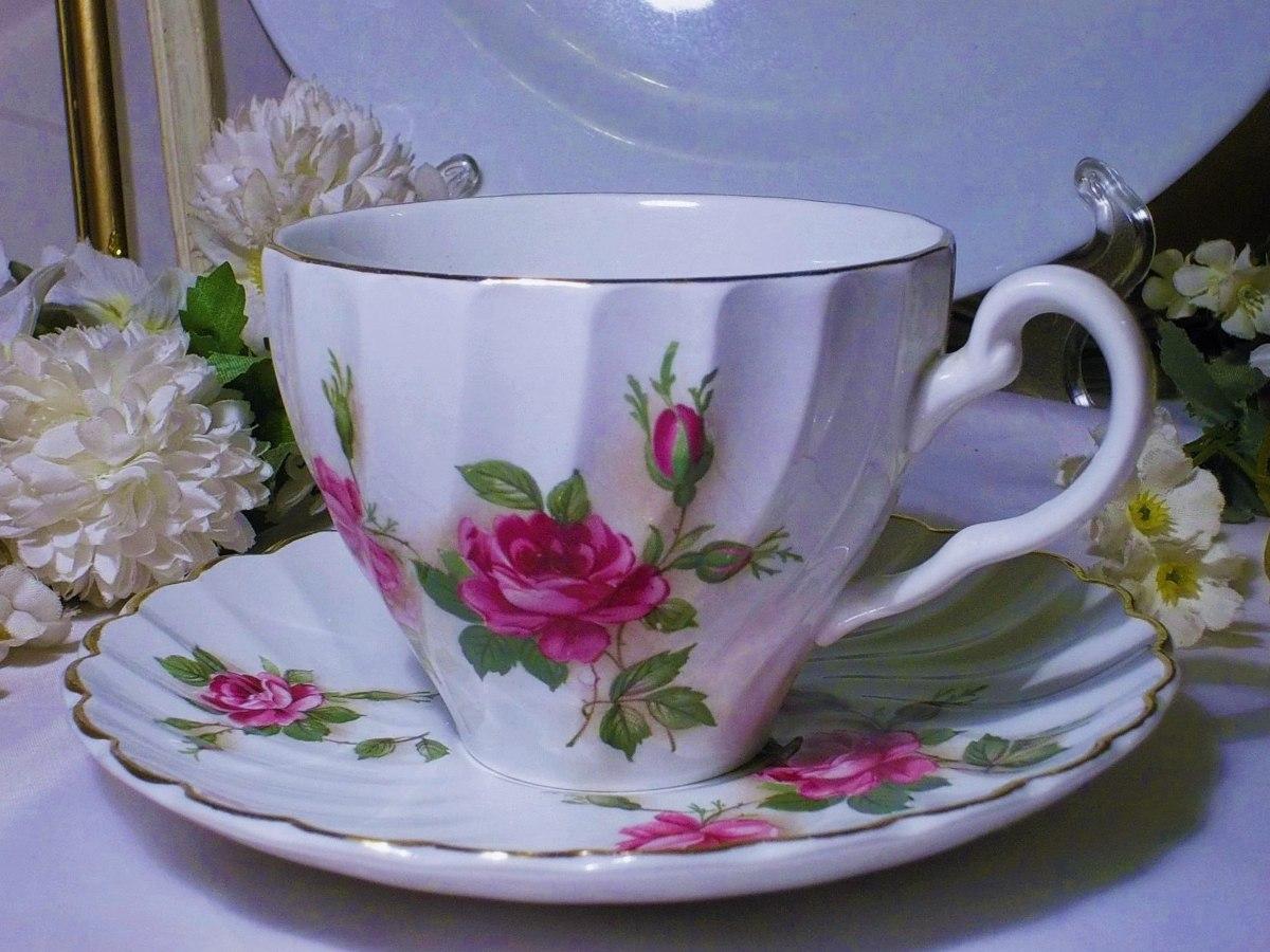 Antigua taza de te porcelana inglesa con rosas for Tazas de te inglesas