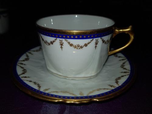 antigua taza en porcelana  limoges azul cobalto y oro