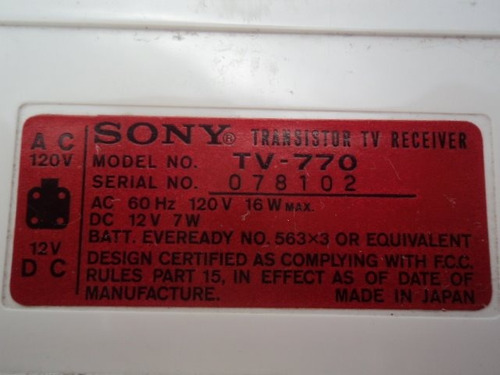 antigua television tv retro sony model tv 770 vintage emerso