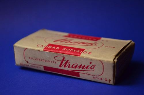 antigua - vintage - caja de escarbadientes - uranio