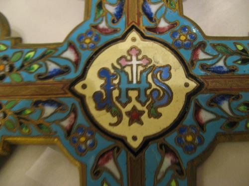 antigua y espectacular cruz esmaltada de cloissone francesa
