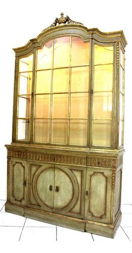 antigua y fina vitrina italiana luis xv hecha en fina madera