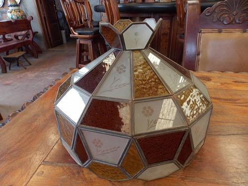 antigua y original lampara artesanal de cristal vintage