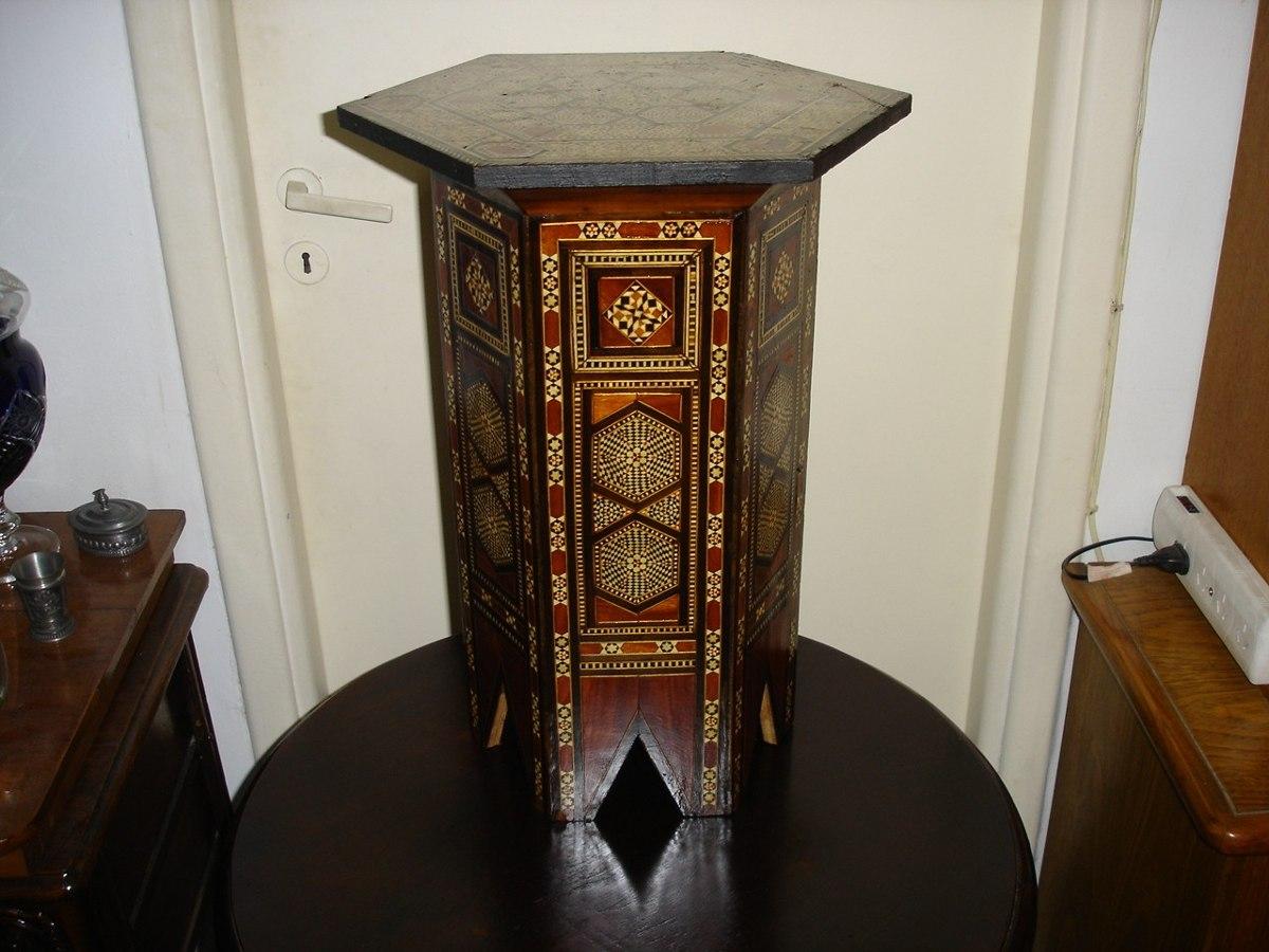 Antigua Y Unica Mesita Toda En Marqueteria Taracea Hexagonal  # Muebles Taracea