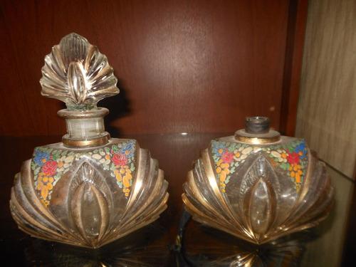 antiguas 4 piezas de toilette cristal estilo art deco