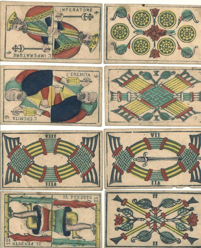 antiguas cartas, barajas, naipes de tarot anteriores a 1889