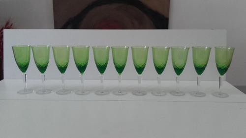 antiguas copas cristal tallado vs tamaños verdes y blancas