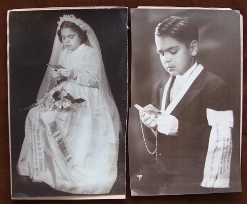 antiguas fotografías de primera comunión - dos fotos