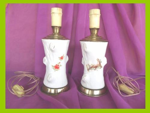 antiguas lámparas veladoras porcelana y bronce, dos-