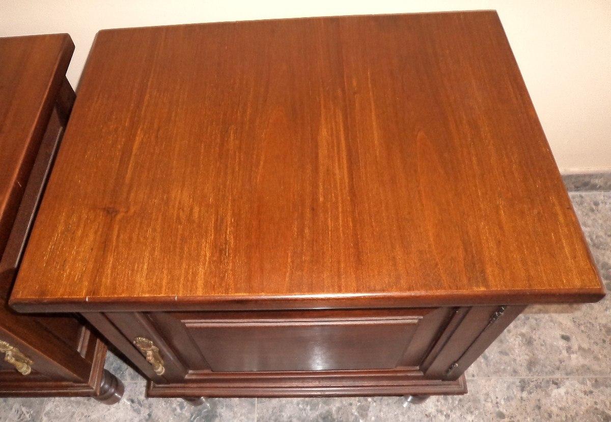 Antiguas mesas de noche 100 madera con apliques br mm13 bs 16 00 en mercado libre - Mesas de noche de madera ...