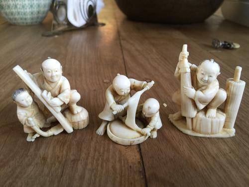 antiguas netsukes japon. tallados m.. elefante 450 cada uno.