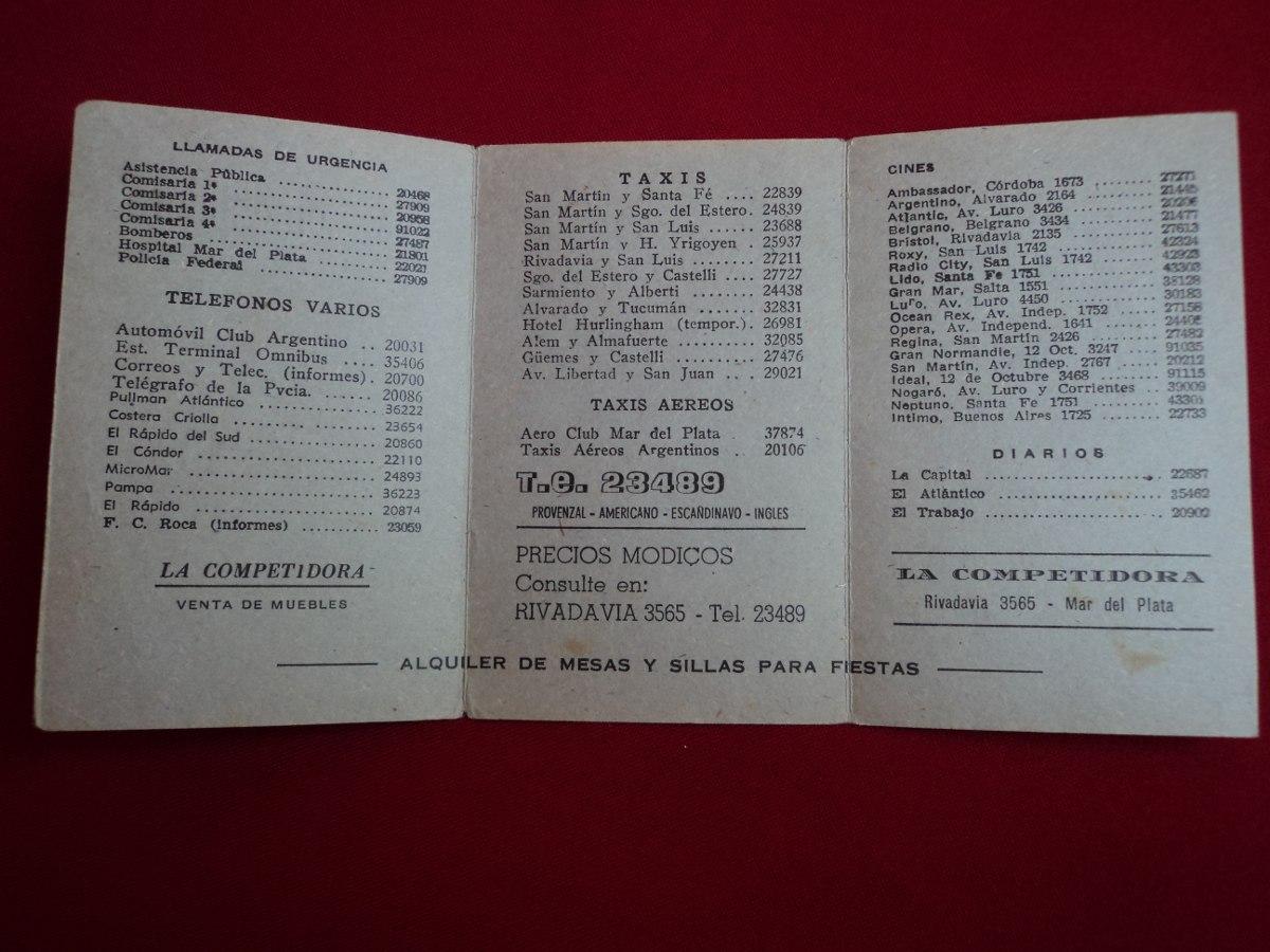 Antiguas Publicidad Folletos Hotel Muebles Mar Del Plata 150