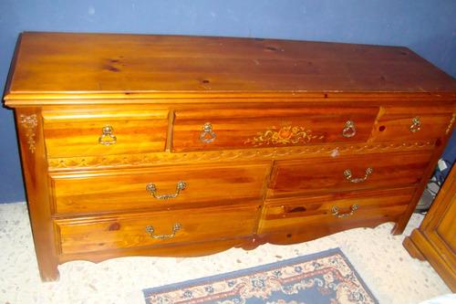 antigüedad mueble cómoda 7 cajones acabado con vetas y nudos
