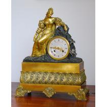 Espectacular Reloj Francés De Mesa, Bronce Dorado, Siglo Xix