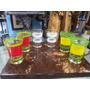 Vaso Antiguo En Vidrio Y Laminilla Al Oleo Precio X C/u X 6