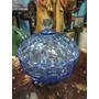 Bombonera Antigua En Cristal Azul Tallada