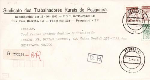 antiguidade pesqueira pernambuco: envelope 1984 frete grátis